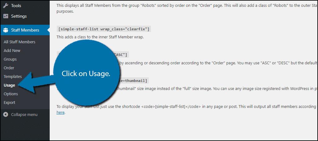Click on Usage.