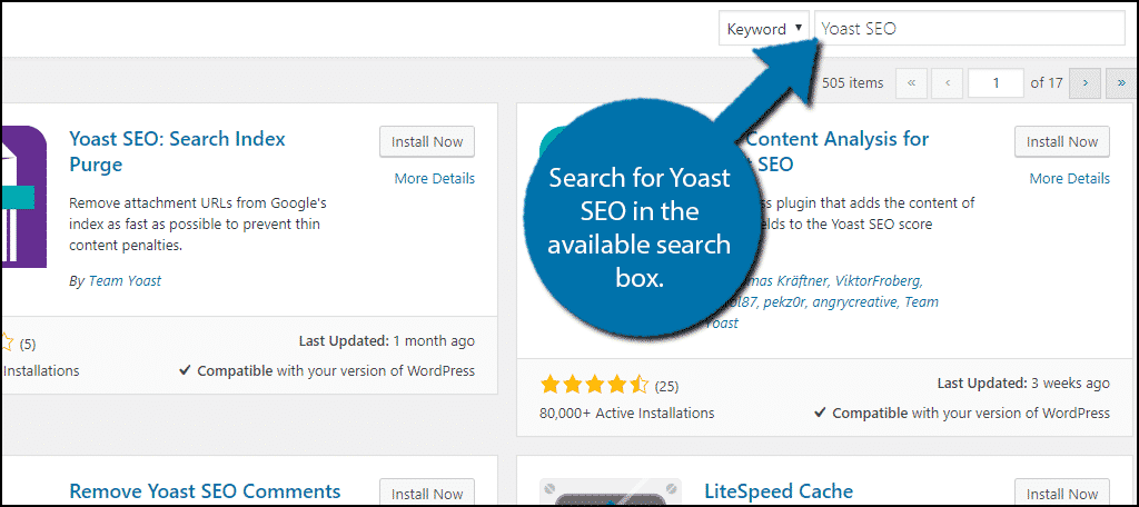 Search for Yoast SEO in the available search box.