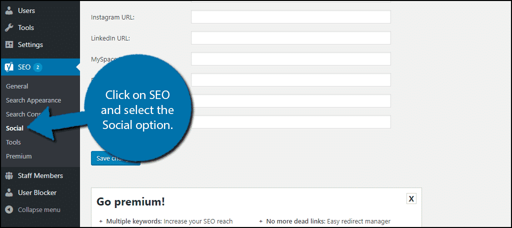 click on SEO and select the Social option.