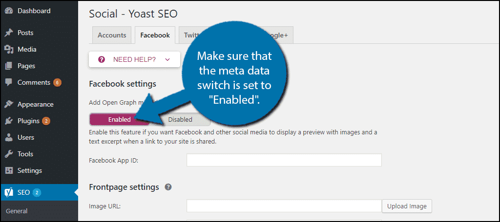 """make sure that the """"Add Open Graph meta data"""" switch is set to """"Enabled""""."""