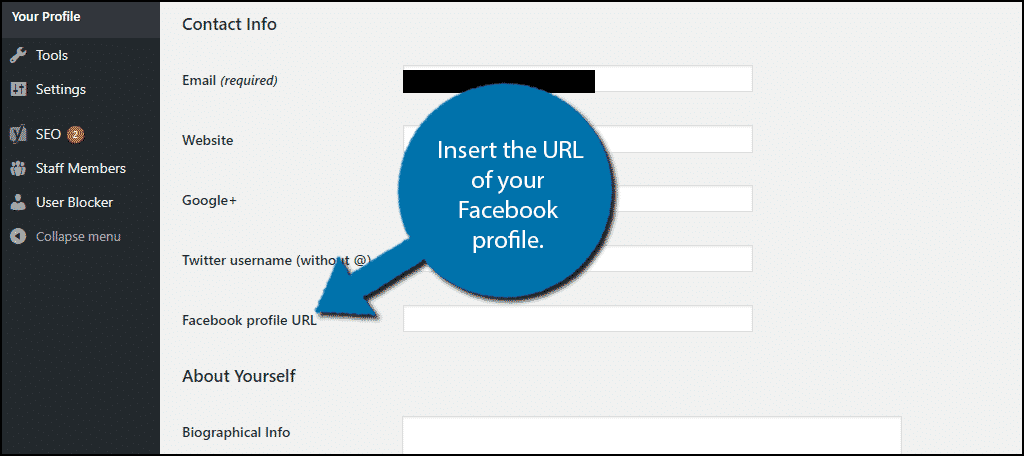 Insert the URL of your Facebook profile.