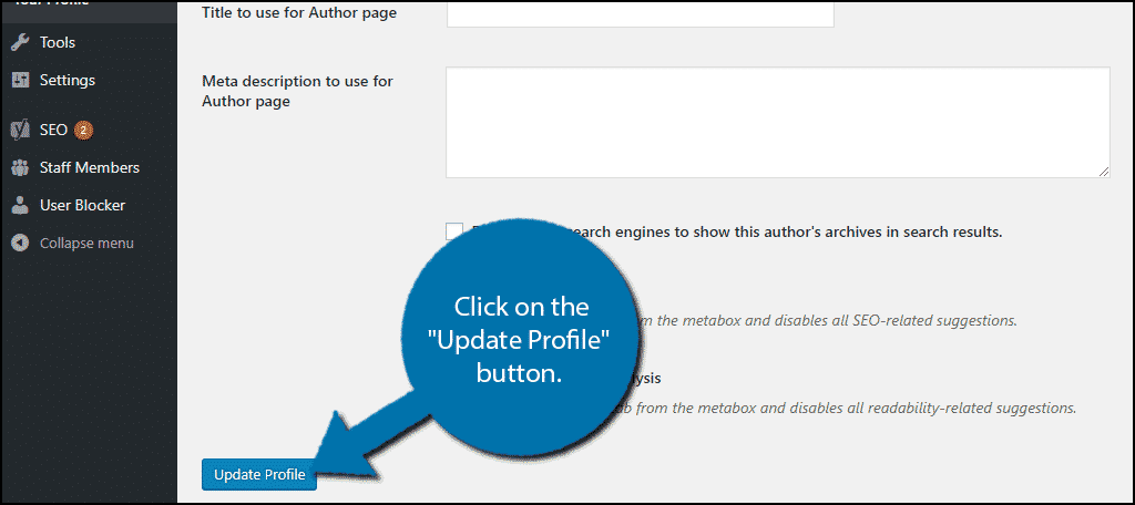 """Click on the """"Update Profile"""" button."""