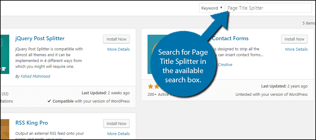 Search for Page Title Splitter in the available search box.