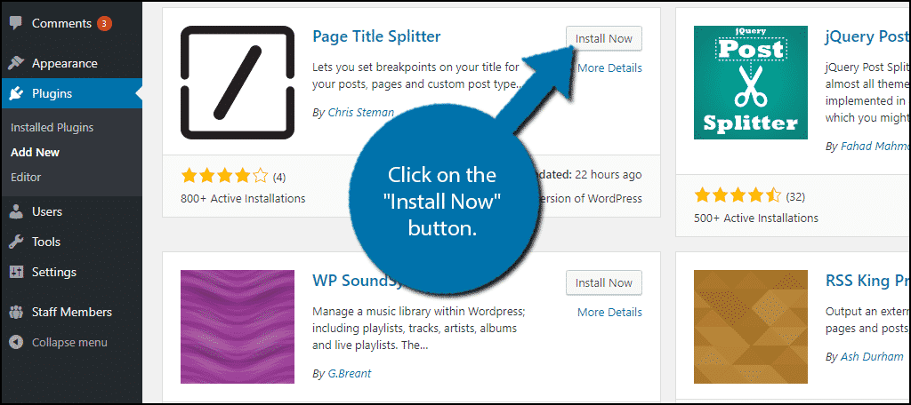 """Click on the """"Install Now"""" button."""