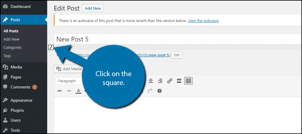 Click on the Square