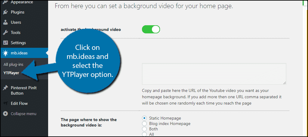 Click on mb.ideas and select the YTPlayer option.