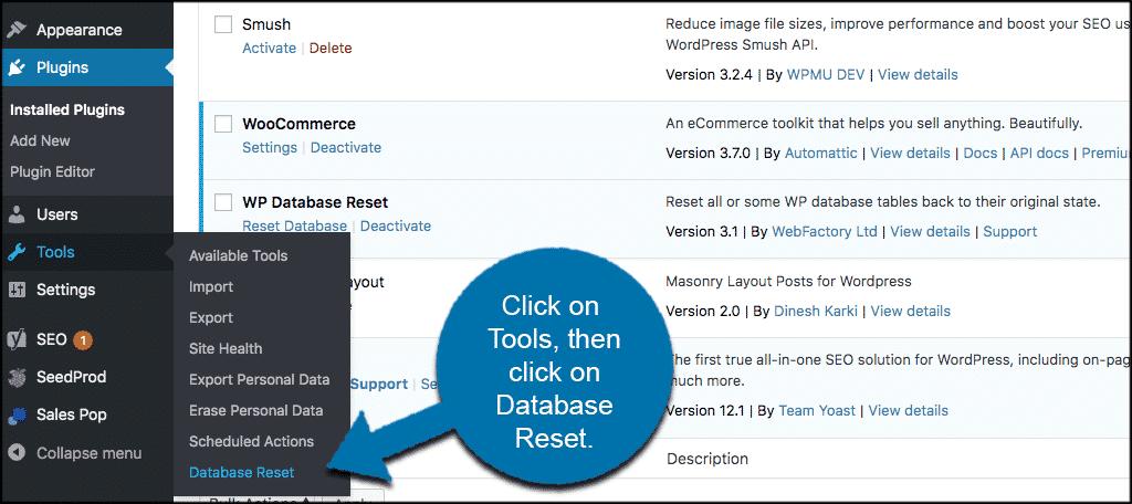 Click tools then click database reset