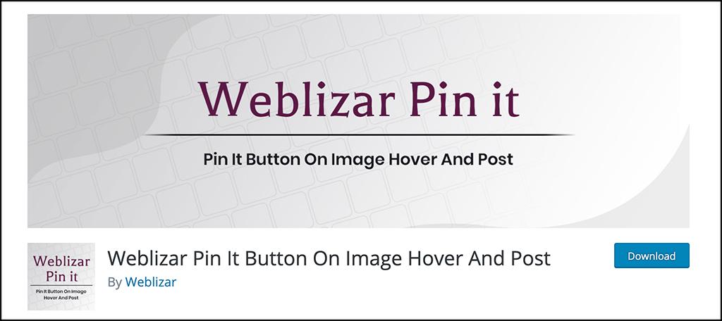 Weblizar pin it button plugin