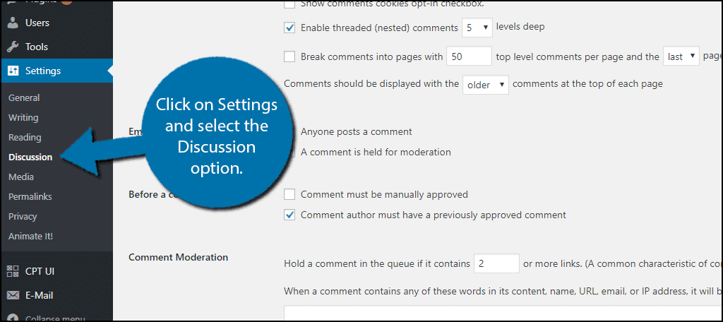 Click on Settings and select the Discussion option.