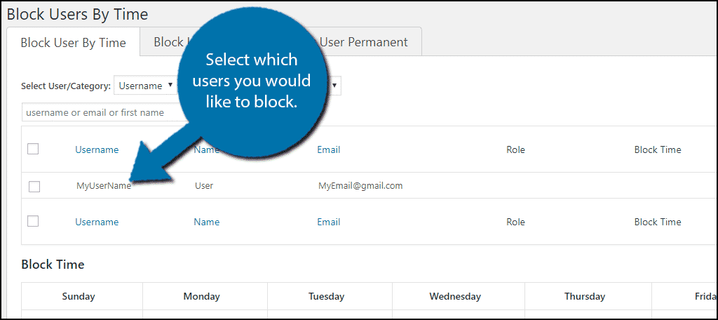 Select any users that you would like to block.