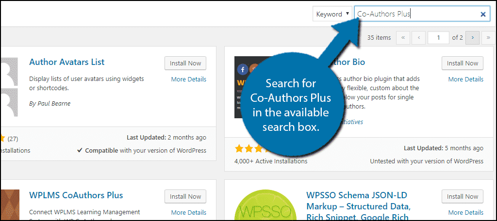 Search for Co-Authors Plus in the available search box.