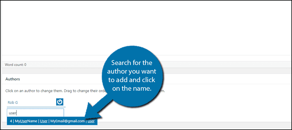 Search for the author you want to add and click on the name.