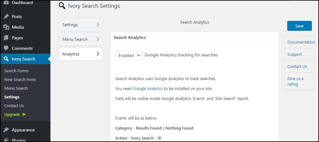 Ivory Search WordPress plugin analytics settings