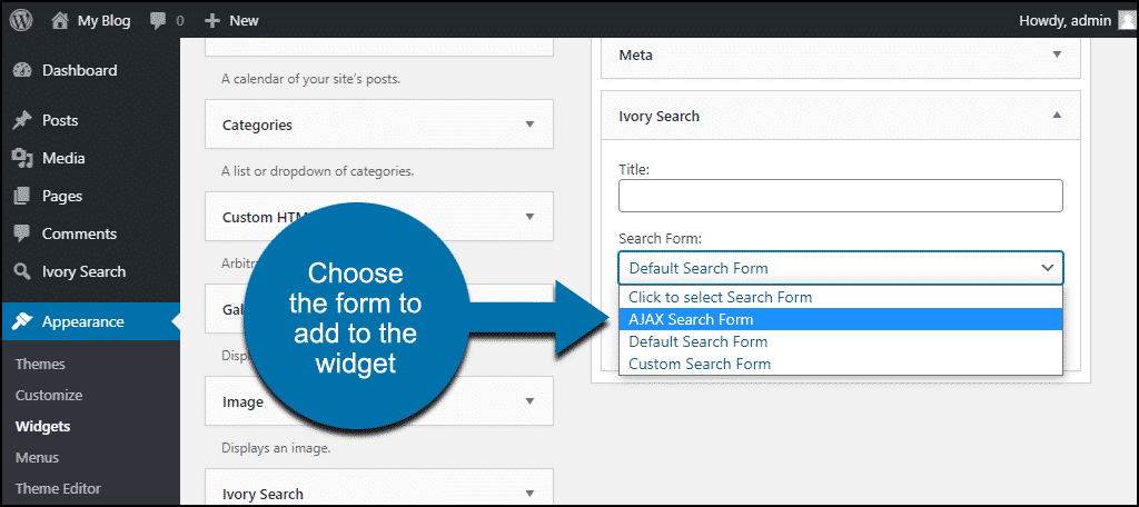 Ivory Search WordPress plugin choose search form