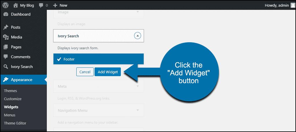 "Ivory Search WordPress plugin click the ""Add Widget"" button"