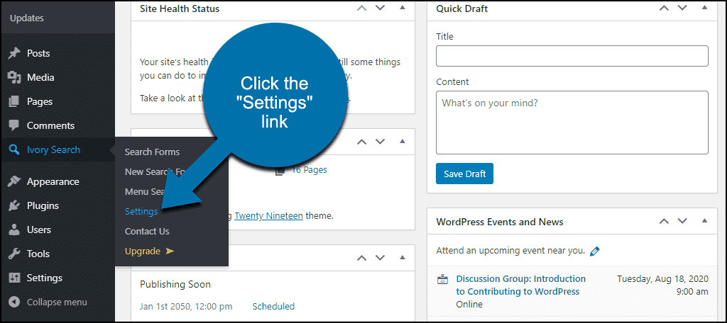 "click the ""Settings"" link"