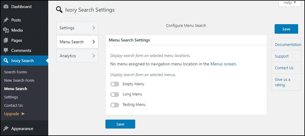 Ivory Search WordPress plugin menu settings