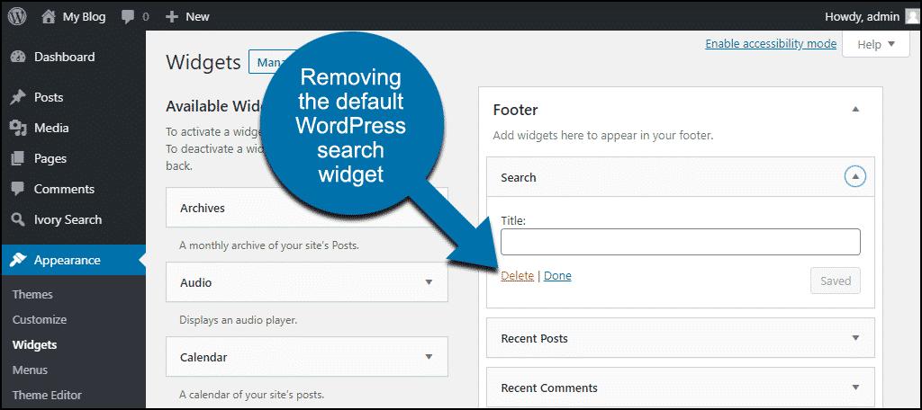 Ivory Search WordPress plugin remove WordPress search widget