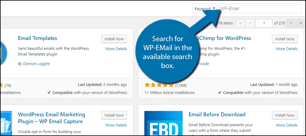 Search for WP-EMail in the available search box.