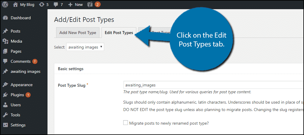 Click on the Edit Post Types tab.