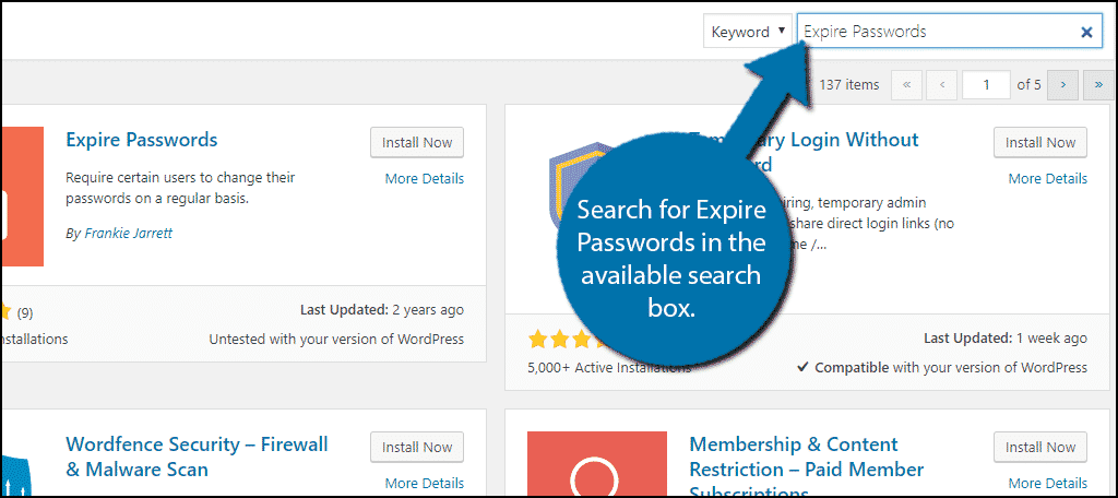 Search forExpire Passwords in the available search box.