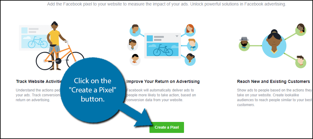 """Click on the """"Create a Pixel"""" button."""