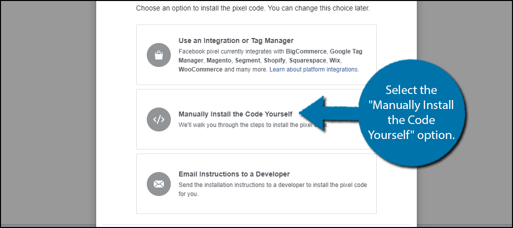 """Select the """"Manually Install the Code Yourself"""" option."""