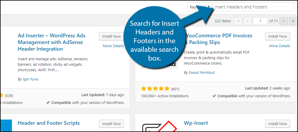 Search forInsert Headers and Footers in the available search box.