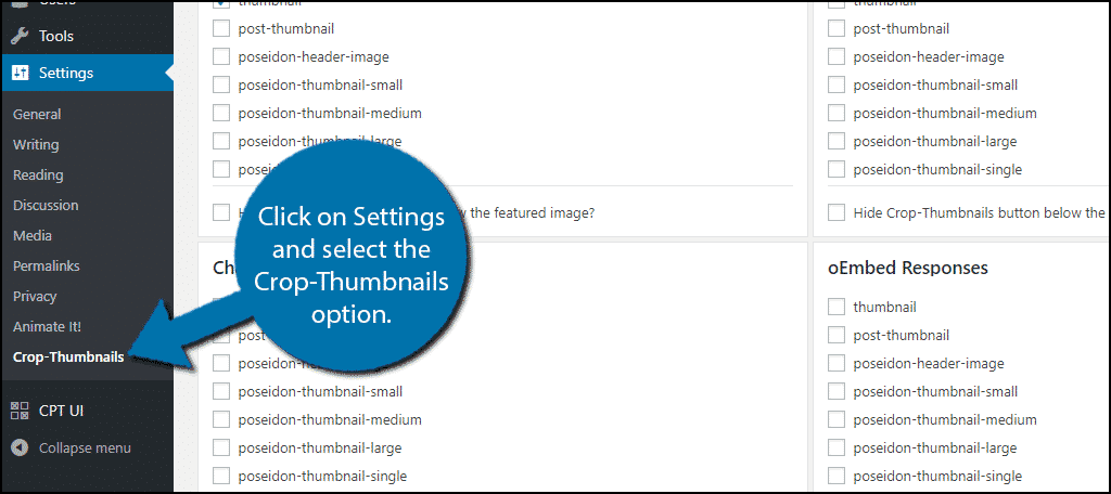 Click on Settings and select the Crop-Thumbnails option