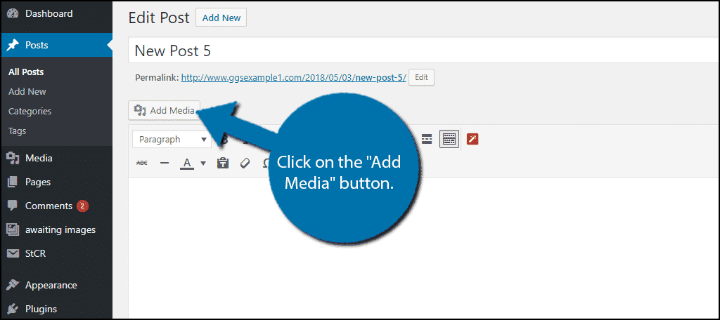 "Click on the ""Add Media"" button."