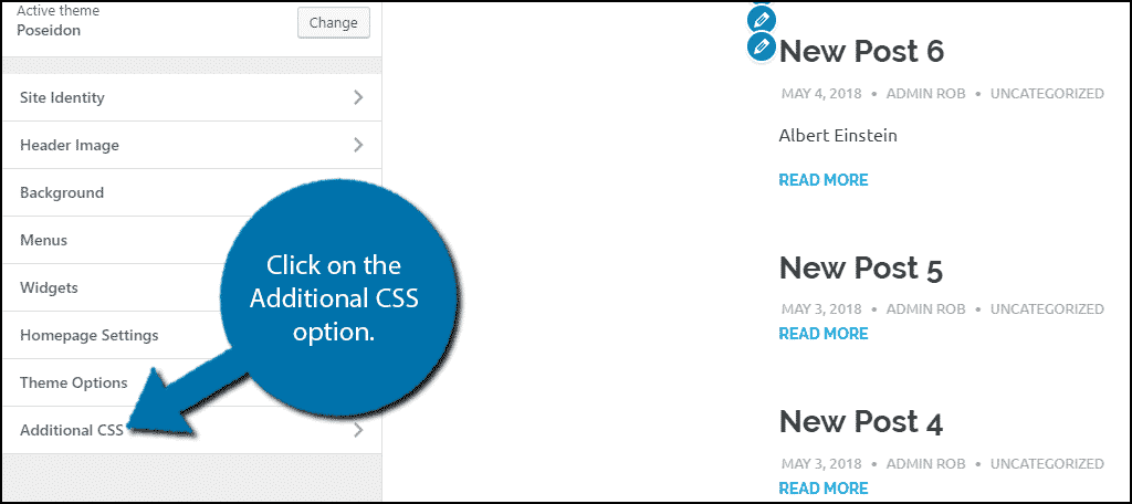Click on the Additional CSS option.