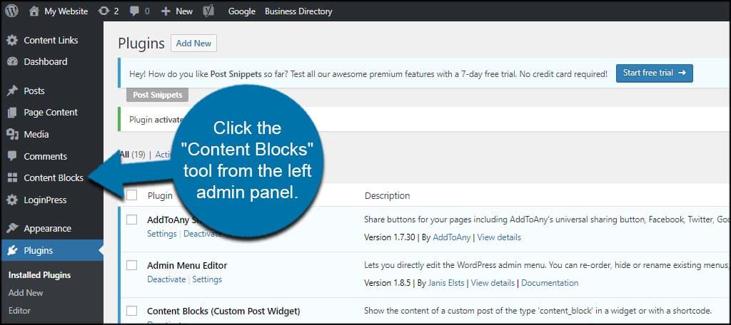 Content Blocks Tool