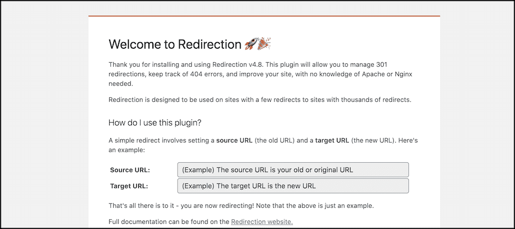 Redirect welcome page