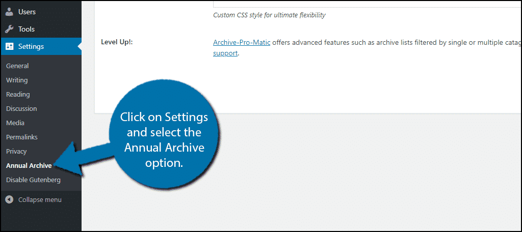 Annual Archive Settings