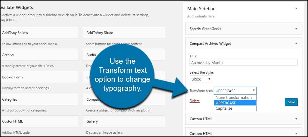 Change Typography