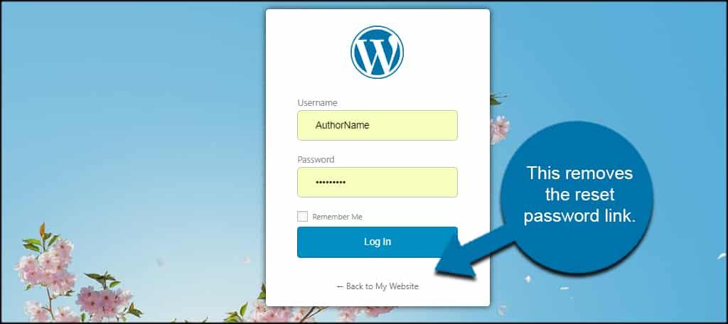 Remove Reset Password Link
