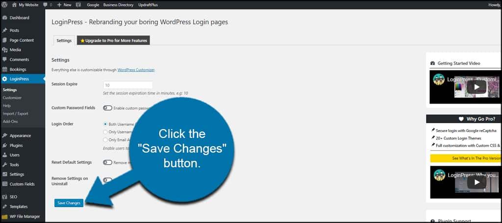 Save LoginPress Settings