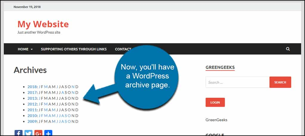 WordPress Archive Page