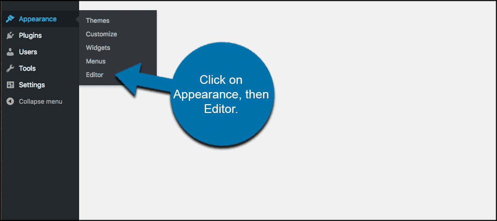 Click on appearance and then editor to access functions.php file