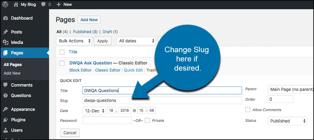 Change slug in question and answers plugin