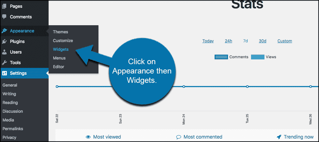 Click on appearance and then wodgets to access the popular post widget area