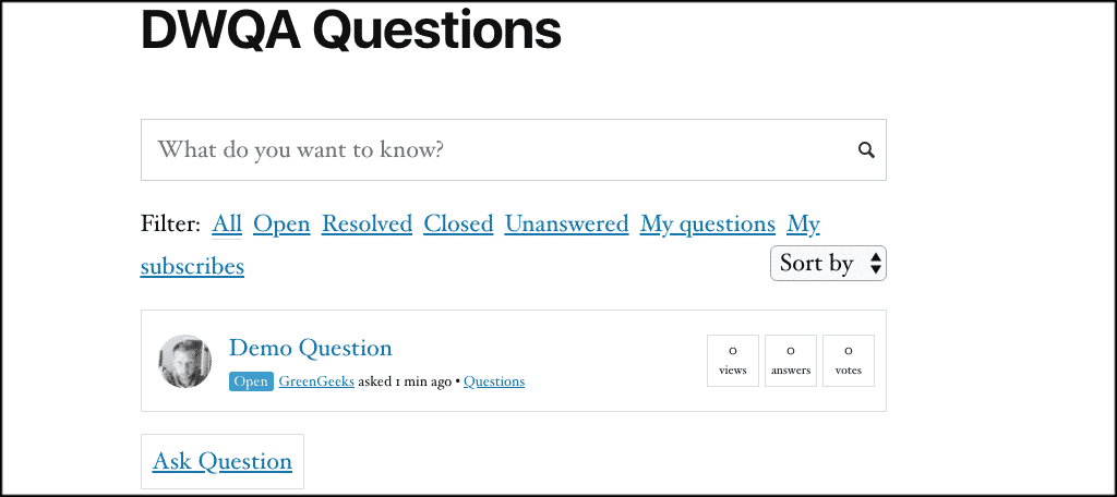 Question and answers front end look and feel