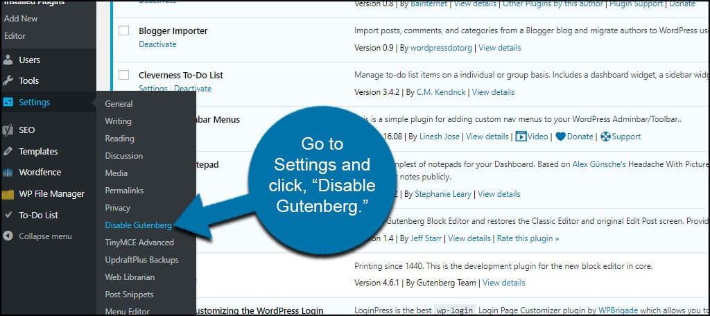 Disable Gutenberg Settings