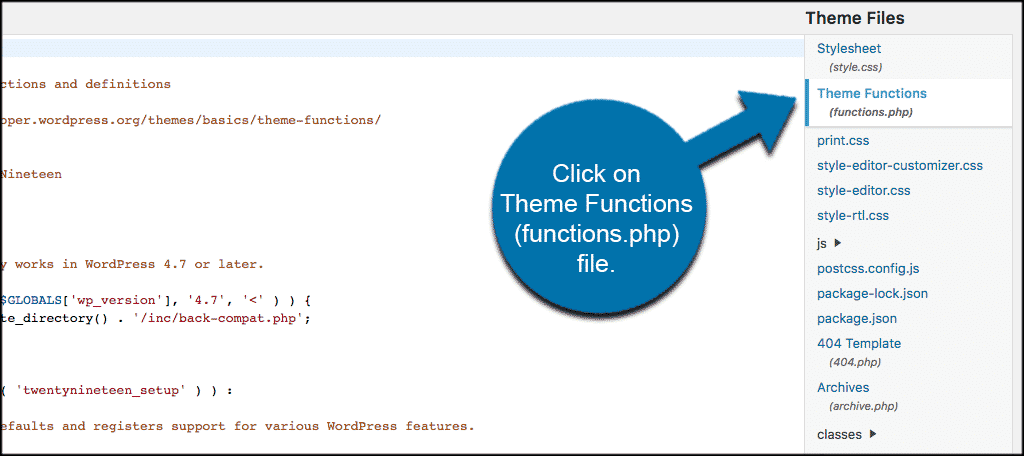 Click on theme functions (functions.php) to edit code