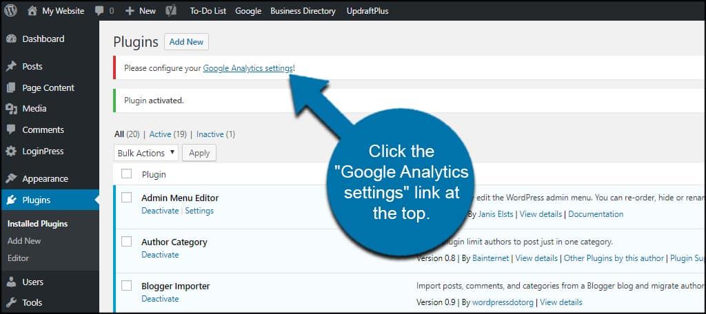 Google Analytics Settings