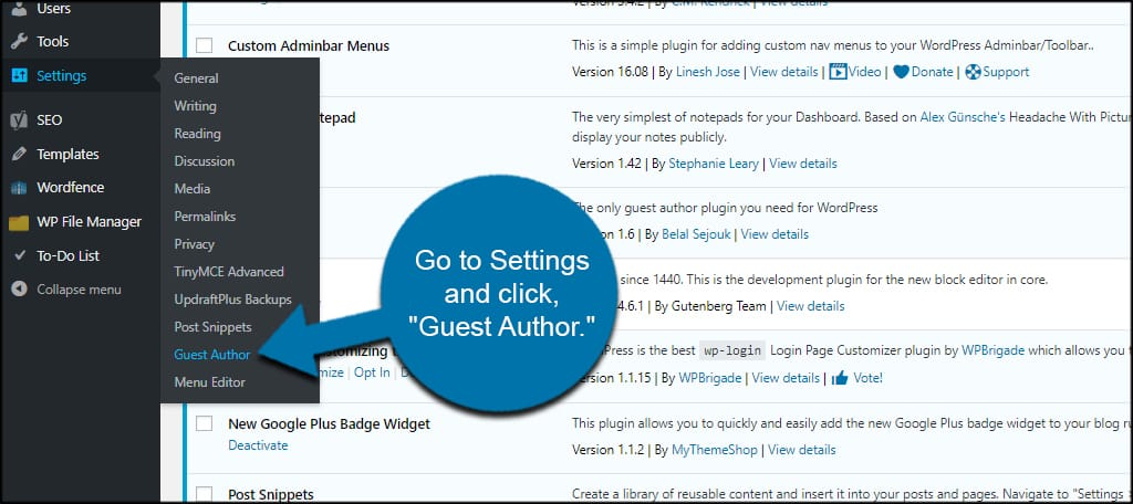 Guest Author Settings