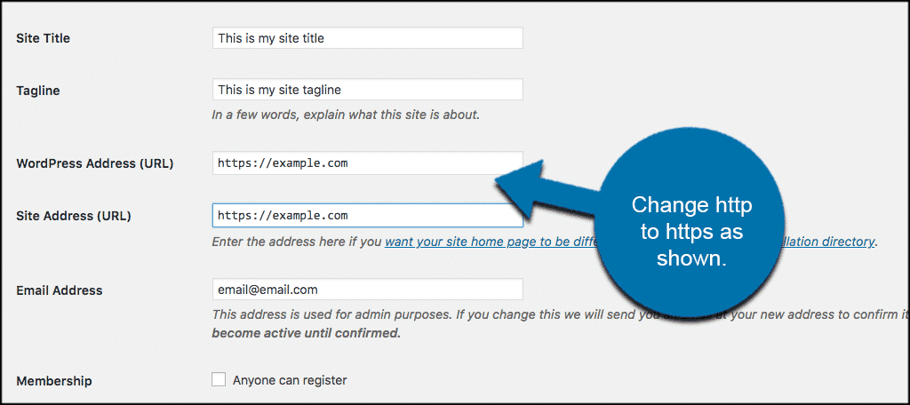 Change http to https as shown
