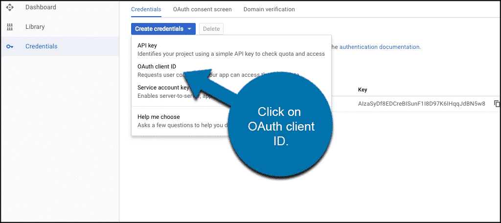 Select the oauth client id option