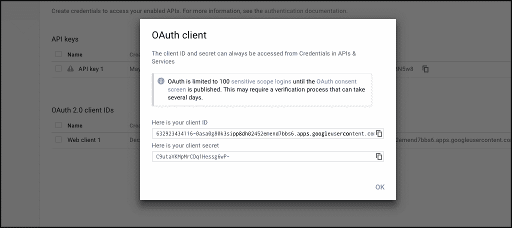 Oauth client popup box for google one click