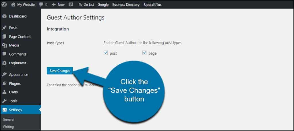 Save Author Settings
